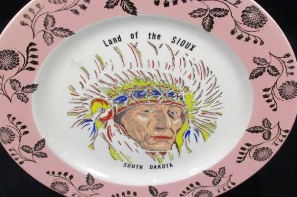 "Collectors Plate 10"" Hand Painted South Dakota ""Land of the Sioux"" Gold Indian"