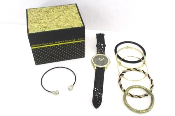 Ladies Watch Stack Bracelet Set Jessica Carlyle Gold Tone Rhinestones Sequins