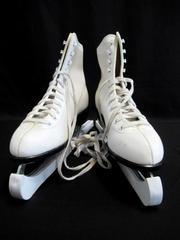 Vintage SLM Ice Skates 10 Blade Covers White Sport Laces Women's Size 8
