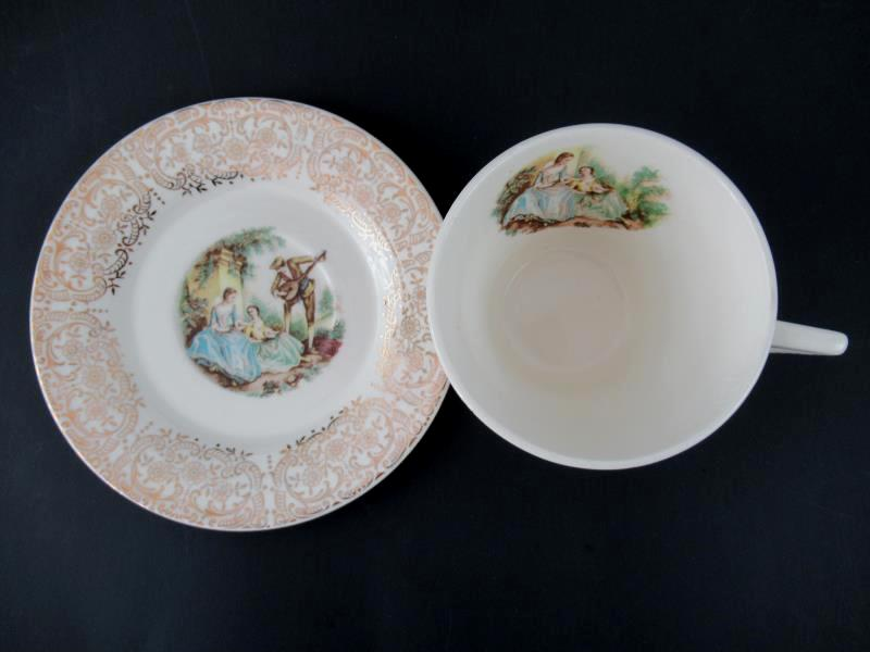 Vintage Triumph American Limoges Cup Saucer China D'Or I T-S 284 22K Gold Trim