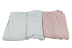 Lot of 3 Vintage Fitted Bed Sheets Standard Queen Pink Blue Mint Retro