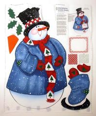 XL Daisy Kingdom Christmas Snowman Door Fabric Panel Quilting 1997 UNCUT DIY