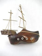 Vintage Shoe Boat Wooden Brown Two-Toned Handmade Brass Masts Collectible
