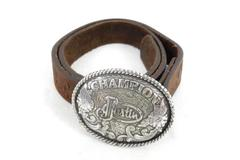Justin Boots Boy's Leather Belt With Buckle Champion Sz 236 Brown Top Hide