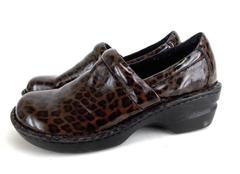 B.O.C. Born Concept Women's Nursing Clogs 7.5 Brown Patent Leather Leopard Print