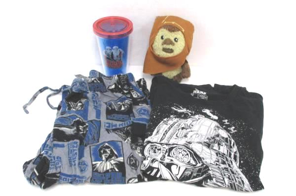 Lot of Star Wars Items Cup Black Vader TShirt & Pajama Pants Size M Ewok Plush