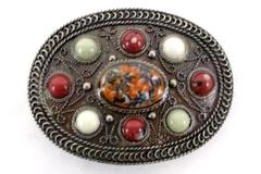 Oval 9 Multicolored Stone Western Silver Tone Metal Belt Buckle