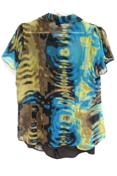 Worthington Womens 1X Brown Teal Sheer Button Up Blouse Mosaic Tie Die Retro
