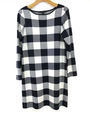 ANN TAYLOR Buffalo Plaid Sweater Dress in Night Sky Wool Blend Sz Large New