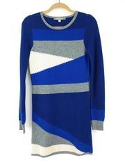 INTERMIX Color Block Sweater Dress Blue Gray 100% Cashmere Long Sleeve Sz Medium