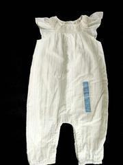 Baby Gap Jumpsuit Off White Metallic Pinstripe Romper Smocked Neck 3-6 Mo New