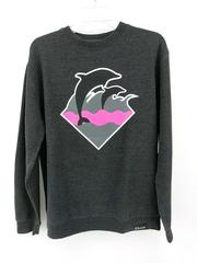 Pink + Dolphin Clothing Sweatshirt Wave Graphic Logo Heather Gray Crew Neck Sz S