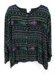 Ulla Popken Bead Embroidery Jacket Retro 80s 90s Black Multi Plus Size 28/30