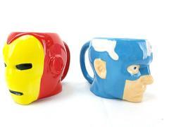 Zak Designs Marvel Super Hero 3D Face Shape Mugs Lot 2 Iron Man Captain America