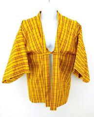Silk Japanese Haori Coat Kimono Jacket Yellow with Red Grid Pattern