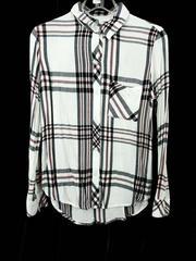 RAILS Button Down Shirt Hunter Long Sleeve White Navy Plaid Women's XS
