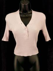 Intermix Ribbed Top Pink Cotton Cashmere Blend Sexy Bodycon Women's Small