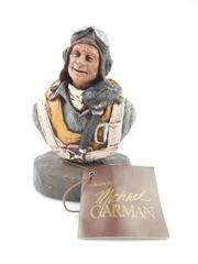 Vintage 1985 Michael Garman Hand Painted Pilot Sculpture Signed
