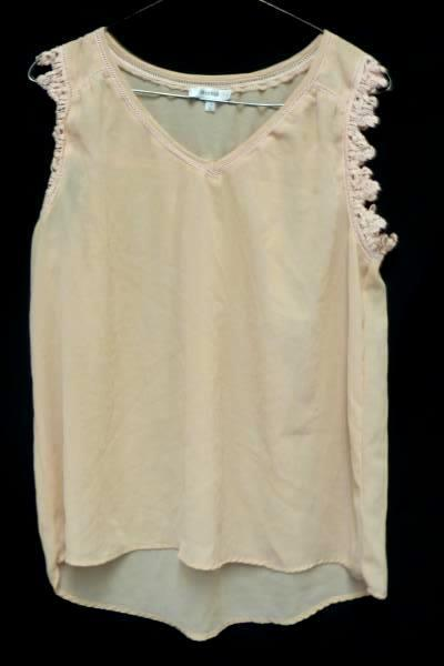 Marisol Pink Sheer Hi Low Embroidered Sleeveless Top Blouse Women's L