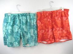 Lot of 2 Ocean & Coast Board Swim Shorts Trunks Hawaiian Green Orange Men's XL