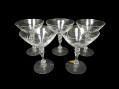 Lot of 5 Tiffin Glasses Etched Cocktail Glasses Martini Whine Stem