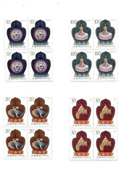 1995-16 China 4 Blocks of 4 Unused Cultural Relics of Tibet Stamps Set MNH