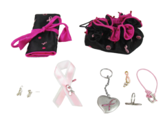 Breast Cancer Awareness Jewelry Lot Bracelets, Earrings Keychain and More