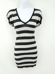 BEBE Bodycon Hoodie Mini Dress Metallic Sparkle Stripe Stretch Knit Tunic XS