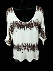 Bebe Cold Shoulder Top Dolman Sleeve Off White Brown Sequin Women's Small