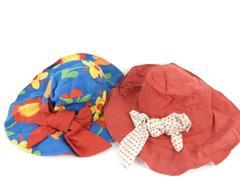 Lot of 2 Vintage Bucket Hats Unisex Cloth Red Blue Flowers Polka Dot