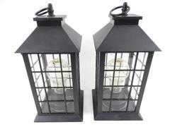2 Garson Everlasting Glow Hanging Lanterns Indoor Outdoor Battery Operated