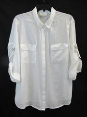Chico's Top Shirt White Roll Tab Adjustable Sleeves Cotton Blend Women's Size 2