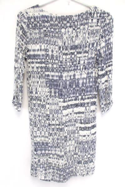 H&M Blue White Zig Zag 3/4 Sleeve Shirt Dress Tunic Top Elastic Waist Women's 2