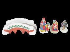 Lot of Christmas Village Figures Brick Bridge Sledders Porcelain Mother Child