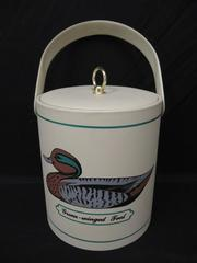 Vintage George Briard Ice Bucket Green-Winged Teal Duck Pattern Soft Shell