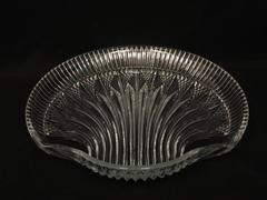 Ridged Clam Shell Dish Platter Fan Pattern Cut Glass 10.5 Inch Clear