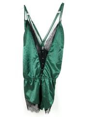 Roma Confidential Green Satin & Lace Romper With Button Accents Women's Sz 3X