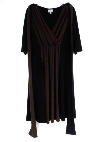 NICHE Nilgun Derman Empire Waist Dress 3/4 Sleeve Black & Brown Size M