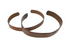 Lot of 2 Handmade Copper Cuff Bracelets Small Brown