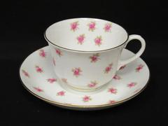 Adderley's Bone China Tea Cup and Saucer White Gold Gild Rose Pattern England