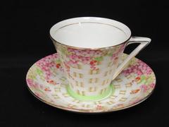 Vintage Royal Mayfair Bone China Tea Cup And Saucer Basket Weave Pink Flowers