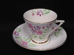 Vintage Phoenix China  Cup and Saucer Hand Painted Bone China White Flowers