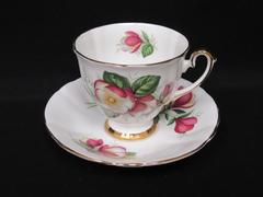 Vintage Society Bone China and Cup Saucer Red And White Flowers