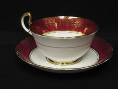 Vintage Bell China Fine Bone China Tea Cup and Saucer Plum White Gold