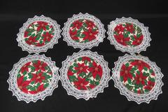 Set of 6 Vintage Poinsettia Doily Coasters Lace Trim Handmade Christmas Decor