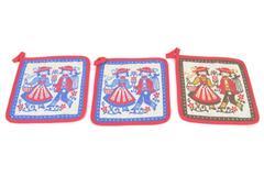 Lot of 3 Vintage Tiroler Webkunst Pot Holders Topflappen Austrian 100% Cotton