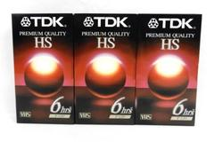 Lot of 3 Sealed TDK Premium Quality HS 6 hours Blank VHS Tape T-120