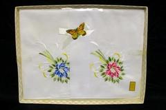 Vintage Boxed Set of 2 Embroidered Cotton Handkerchiefs Original Box Japan