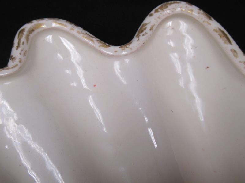 Vintage Shell Shaped China Trinket Dish White Gold Toned Crackle Metallic Sea