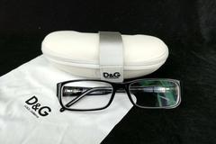 Dolce & Gabbana Eyeglass Frames Black Plastic Rectangle with Case and Cloth